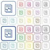 Report with graph outlined flat color icons - Report with graph color flat icons in rounded square frames. Thin and thick versions included.