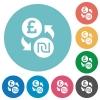Pound Shekel money exchange flat round icons - Pound Shekel money exchange flat white icons on round color backgrounds