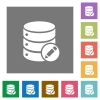 Edit database square flat icons - Edit database flat icons on simple color square backgrounds