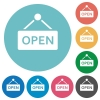 Open sign flat round icons - Open sign flat white icons on round color backgrounds