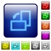 Rotate left color square buttons - Rotate left icons in rounded square color glossy button set