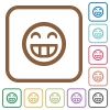 Laughing emoticon simple icons - Laughing emoticon simple icons in color rounded square frames on white background