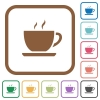 Cup of coffee simple icons - Cup of coffee simple icons in color rounded square frames on white background