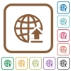 Upload to internet simple icons - Upload to internet simple icons in color rounded square frames on white background