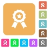 Award with ribbons rounded square flat icons - Award with ribbons flat icons on rounded square vivid color backgrounds.