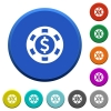Dollar casino chip beveled buttons - Dollar casino chip round color beveled buttons with smooth surfaces and flat white icons