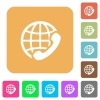 International call rounded square flat icons - International call flat icons on rounded square vivid color backgrounds.