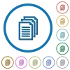 Multiple documents icons with shadows and outlines - Multiple documents flat color vector icons with shadows in round outlines on white background