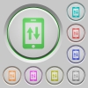 Mobile data traffic push buttons - Mobile data traffic color icons on sunk push buttons