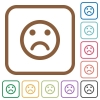 Sad emoticon simple icons - Sad emoticon simple icons in color rounded square frames on white background
