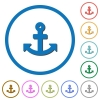 Anchor icons with shadows and outlines - Anchor flat color vector icons with shadows in round outlines on white background