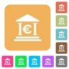 Euro bank office rounded square flat icons - Euro bank office flat icons on rounded square vivid color backgrounds.