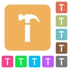 Hammer rounded square flat icons - Hammer flat icons on rounded square vivid color backgrounds.