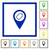 Tagging GPS map location flat framed icons - Tagging GPS map location flat color icons in square frames on white background