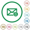 Unlock mail flat icons with outlines - Unlock mail flat color icons in round outlines on white background