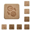 Euro new Shekel money exchange wooden buttons - Euro new Shekel money exchange on rounded square carved wooden button styles