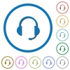Headset with microphone flat color vector icons with shadows in round outlines on white background - Headset with microphone icons with shadows and outlines
