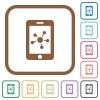 Mobile social network simple icons - Mobile social network simple icons in color rounded square frames on white background