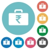 Indian Rupee bag flat round icons - Indian Rupee bag flat white icons on round color backgrounds