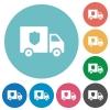 Money deliverer truck flat round icons - Money deliverer truck flat white icons on round color backgrounds