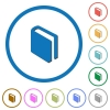 Single book icons with shadows and outlines - Single book flat color vector icons with shadows in round outlines on white background