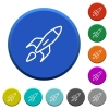 Launched rocket beveled buttons - Launched rocket round color beveled buttons with smooth surfaces and flat white icons