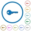 Safety key icons with shadows and outlines - Safety key flat color vector icons with shadows in round outlines on white background