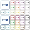 Search box outlined flat color icons - Search box color flat icons in rounded square frames. Thin and thick versions included.