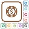 Dollar casino chip simple icons in color rounded square frames on white background - Dollar casino chip simple icons