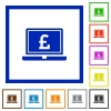 Laptop with Pound sign flat framed icons - Laptop with Pound sign flat color icons in square frames on white background