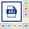 ARJ file format flat framed icons - ARJ file format flat color icons in square frames on white background