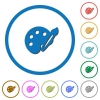 Paint kit icons with shadows and outlines - Paint kit flat color vector icons with shadows in round outlines on white background