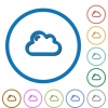 Cloud icons with shadows and outlines - Cloud flat color vector icons with shadows in round outlines on white background