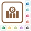 Bitcoin graph simple icons - Bitcoin graph simple icons in color rounded square frames on white background