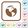 Earth simple icons - Earth simple icons in color rounded square frames on white background