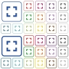 Selector tool outlined flat color icons - Selector tool color flat icons in rounded square frames. Thin and thick versions included.