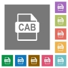 CAB file format square flat icons - CAB file format flat icons on simple color square backgrounds