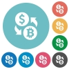 Dollar Bitcoin money exchange flat round icons - Dollar Bitcoin money exchange flat white icons on round color backgrounds