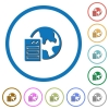 Web hosting icons with shadows and outlines - Web hosting flat color vector icons with shadows in round outlines on white background