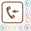 Incoming call simple icons - Incoming call simple icons in color rounded square frames on white background