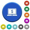 Laptop with Dollar sign beveled buttons - Laptop with Dollar sign round color beveled buttons with smooth surfaces and flat white icons