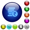 Indian Rupee coins color glass buttons - Indian Rupee coins icons on round color glass buttons