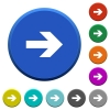 Right arrow beveled buttons - Right arrow round color beveled buttons with smooth surfaces and flat white icons