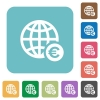 Online Euro payment rounded square flat icons - Online Euro payment white flat icons on color rounded square backgrounds