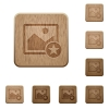 Rank image wooden buttons - Rank image on rounded square carved wooden button styles
