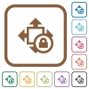 Size lock simple icons - Size lock simple icons in color rounded square frames on white background