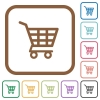 Shopping cart simple icons - Shopping cart simple icons in color rounded square frames on white background