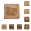 Unlock folder wooden buttons - Unlock folder on rounded square carved wooden button styles