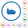 Sea transport icons with shadows and outlines - Sea transport flat color vector icons with shadows in round outlines on white background