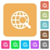 Web search rounded square flat icons - Web search flat icons on rounded square vivid color backgrounds.